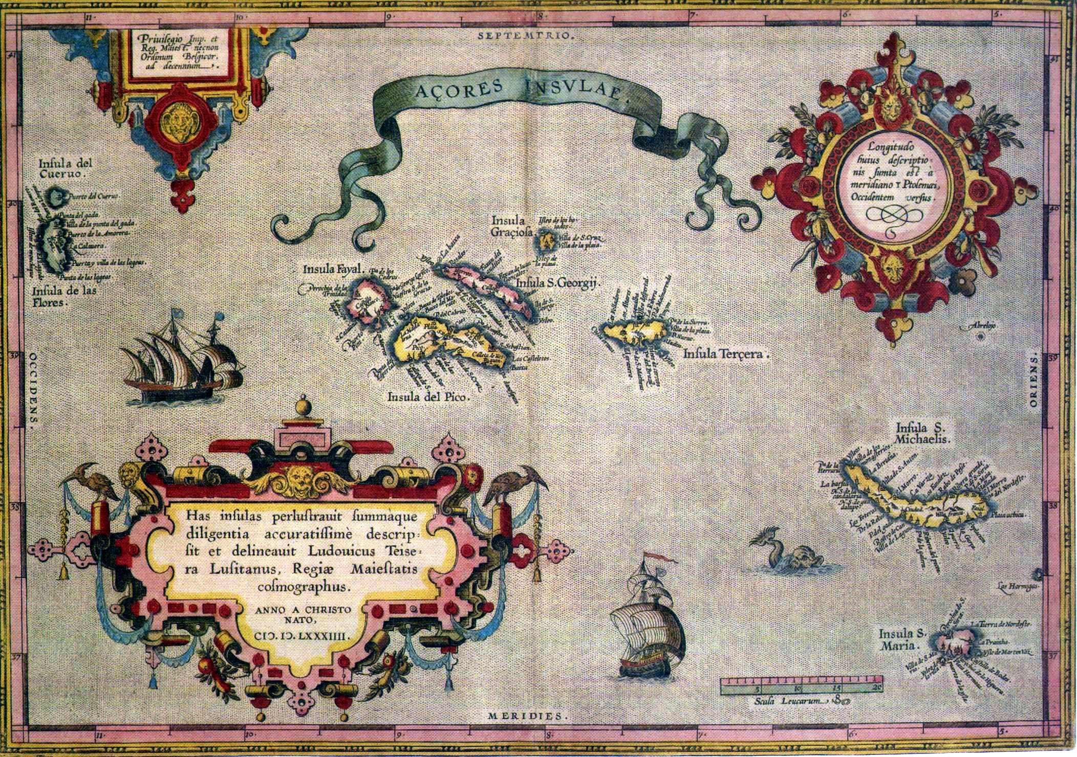 Mapa dos Açores em 1584