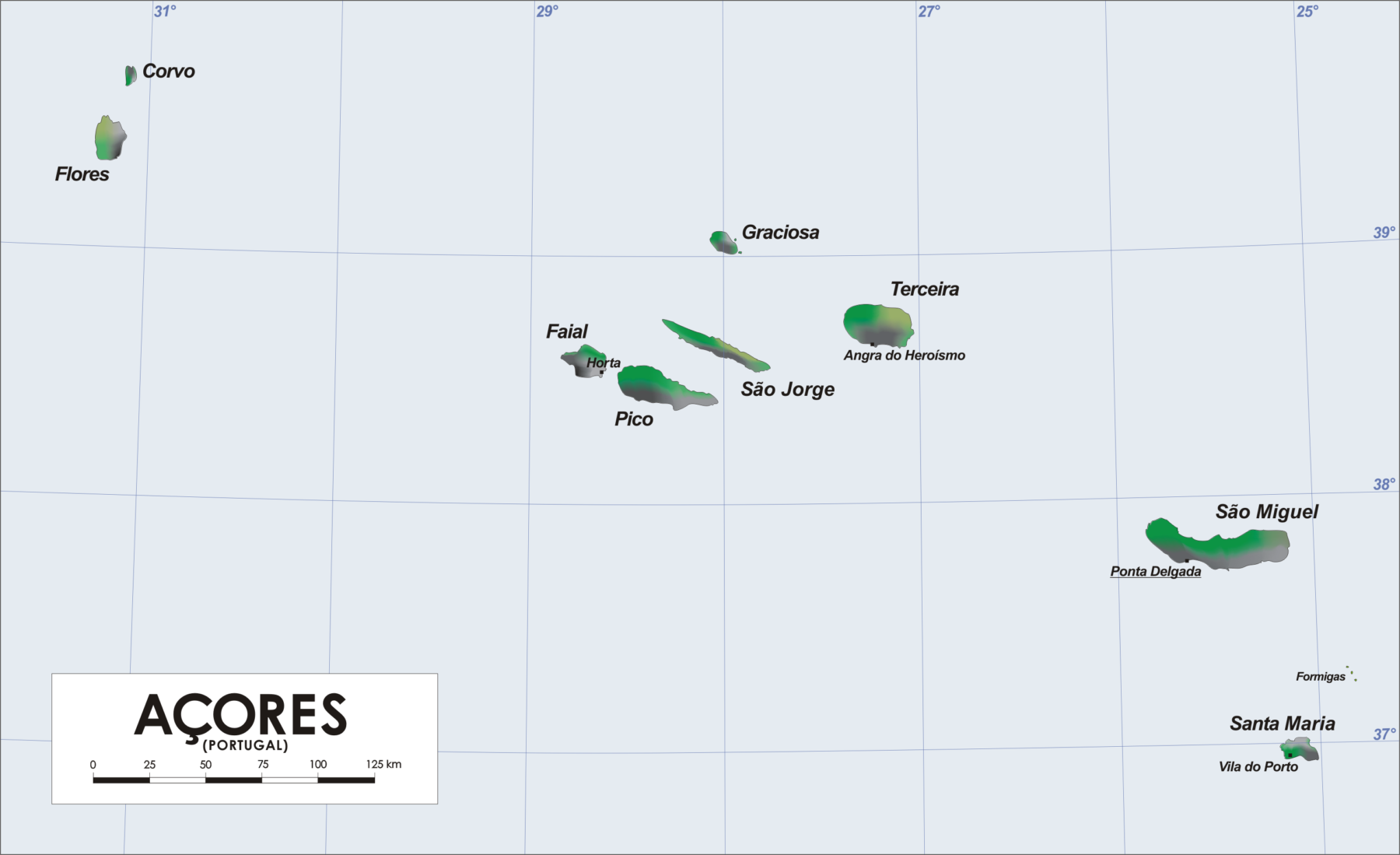 açores mapa Map of the Azores   9 Islands of the Azores Archipelago açores mapa