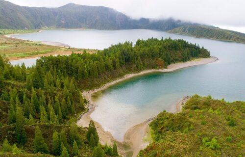 Lagoa do Fogo em vista aérea, São Miguel – Açores
