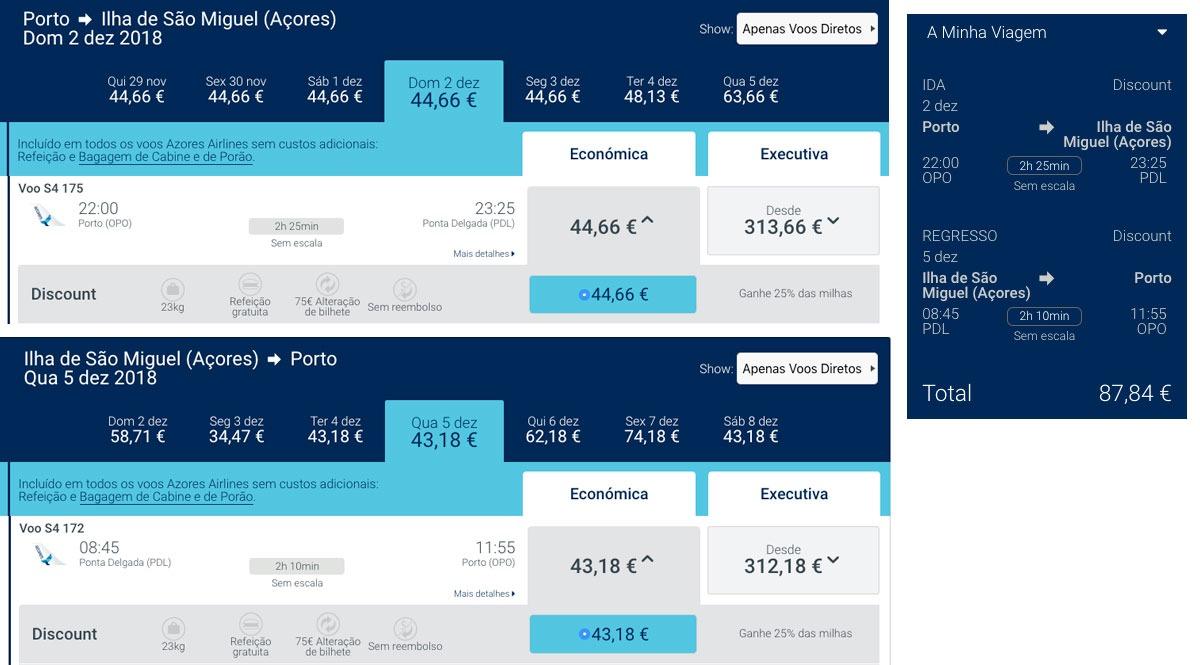 Comparativo de Preços - Azores Airlines - Mala de Porão