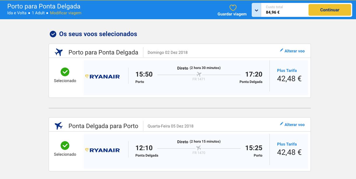 Comparativo de Preços - Ryanair - Mala de Porão
