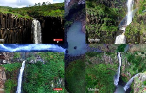 As 5 cascatas da Ilha de Santa Maria vistas do céu, imagens únicas e magníficas