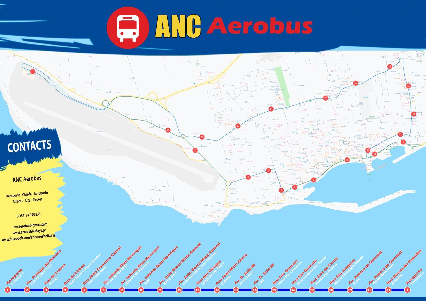 Mapa Trajecto Paragens ANC AeroBus - Ponta Delgada - São Miguel, Açores