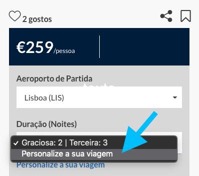 Personalizar viagem - AzoresGetaways