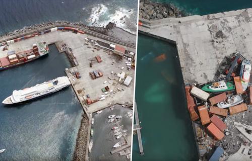 Passagem do Furacão Lorenzo no Porto das Lajes das Flores (Antes e Depois)