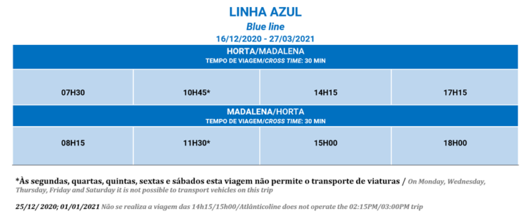 Horário Linha Azul Atlanticoline 2021