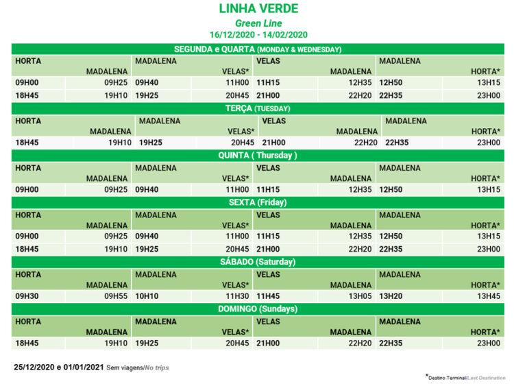 Horário Linha Verde Atlanticoline 2021