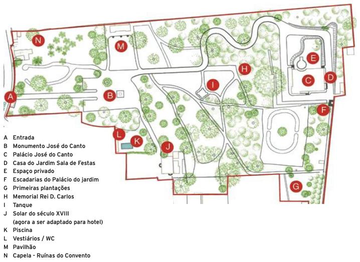 Mapa Jardim José do Canto - São Miguel, Açores